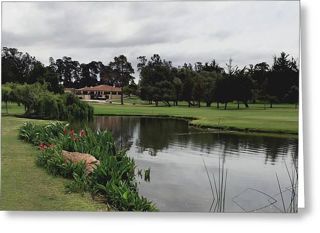 Water Hazard At Number Five Santa Maria Country Club Greeting Card by Barbara Snyder