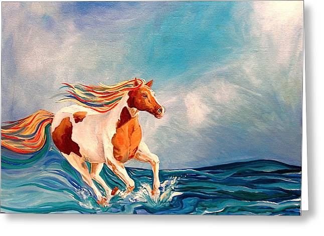 Water Horse Greeting Card by Rebecca Robinson