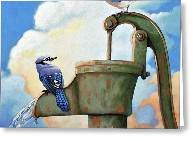 Water Is Life #3 -blue Jays On Water Pump Painting Greeting Card by Linda Apple