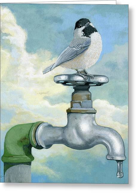 Water Is Life - Realistic Painting Greeting Card by Linda Apple