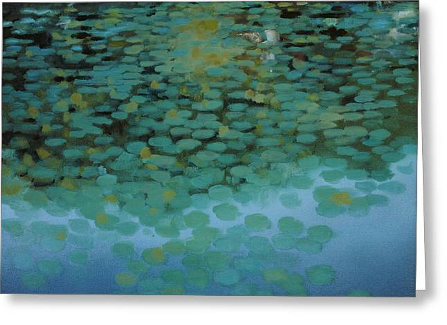 Greeting Card featuring the painting Water Lilies 3 by Cap Pannell