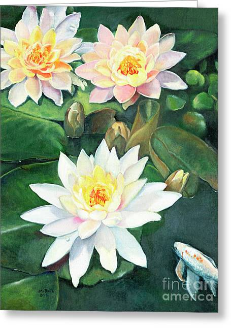 Greeting Card featuring the painting Water Lilies And Koi by Marlene Book