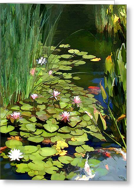 Water Lilies And Koi Pond Greeting Card