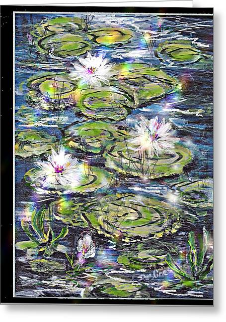 Water Lilies And Rainbows Greeting Card