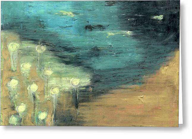 Greeting Card featuring the painting Water Lilies At The Pond by Michal Mitak Mahgerefteh