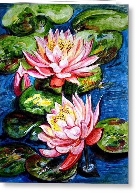 Water Lilies  Greeting Card by Harsh Malik