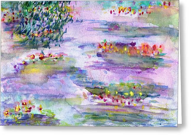 Water Lilies Greeting Card by Janpen Sherwood