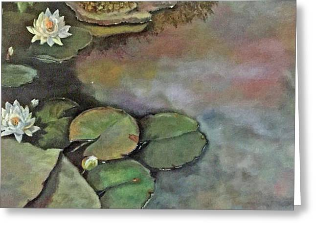 Greeting Card featuring the painting Water Lilies Late Afternoon by Marlene Book