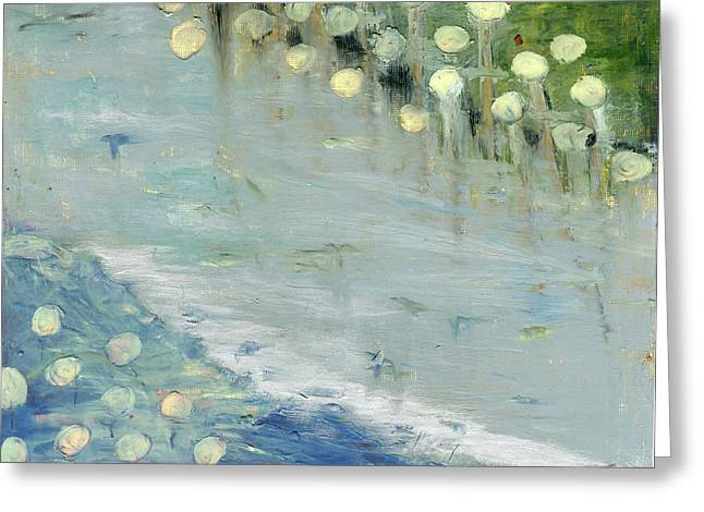 Greeting Card featuring the painting Water Lilies by Michal Mitak Mahgerefteh