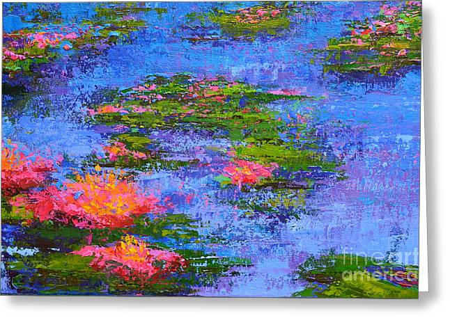 Greeting Card featuring the painting Waterlilies Lily Pads - Modern Impressionist Landscape Palette Knife Work by Patricia Awapara