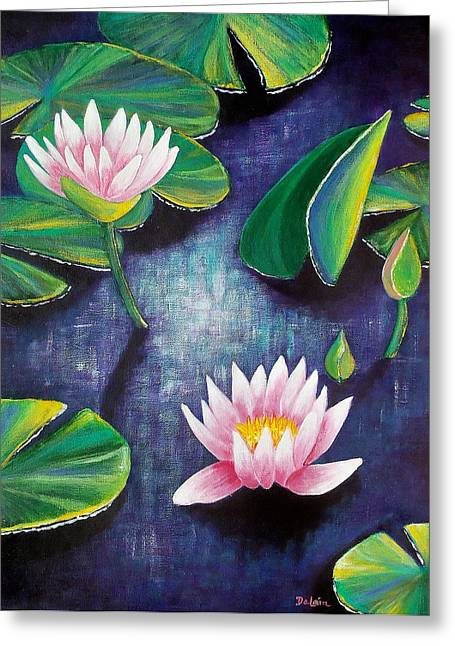 Greeting Card featuring the painting Water Lilies by Susan DeLain