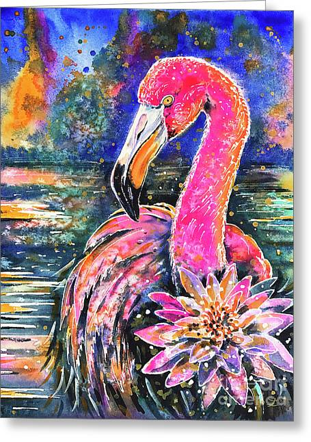 Water Lily And Flamingo Greeting Card