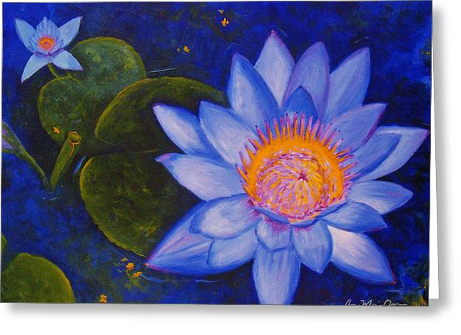 Water Lily Greeting Card by Anne Marie Brown