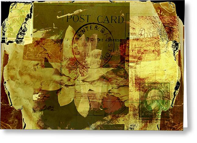 Water Lily Collage Greeting Card by Ann Powell
