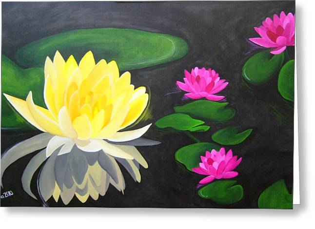Water Lily Pond  Greeting Card by Una  Miller