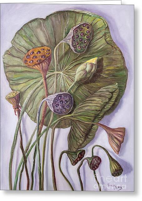 Water Lily Seed Pods Framed By A Leaf Greeting Card