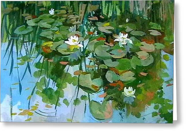 Water Lilyes Greeting Card by Hrachuhi Grigoryan