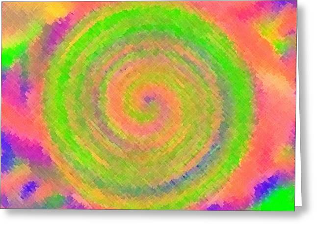 Greeting Card featuring the digital art Water Melon Whirls by Catherine Lott