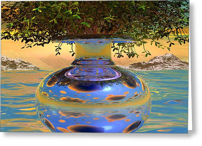 Water-mirror-urn Randm Yello Sky Glo Greeting Card by Terry Anderson