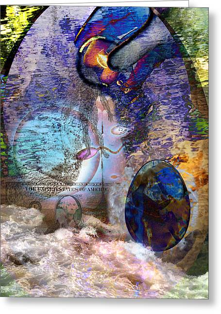 Water Montage Greeting Card by Vicki Tomatis