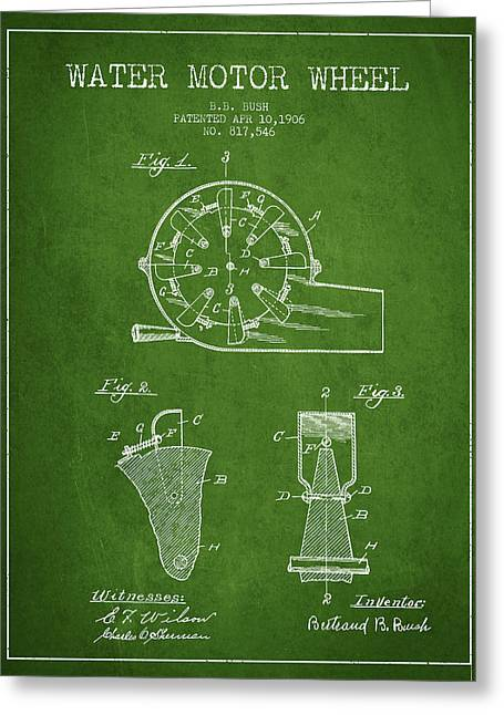 Water Motor Wheel Patent From 1906 - Green Greeting Card