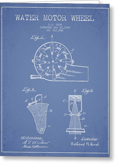 Water Motor Wheel Patent From 1906 - Light Blue Greeting Card