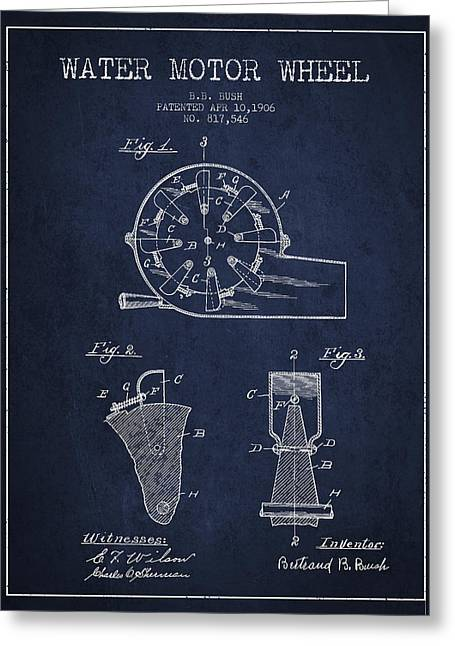 Water Motor Wheel Patent From 1906 - Navy Blue Greeting Card
