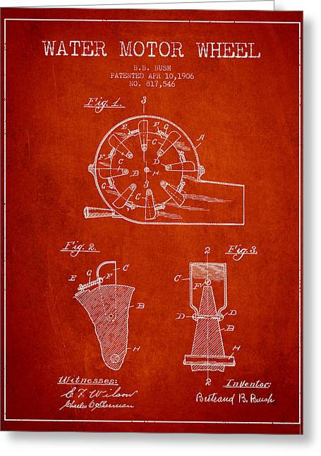 Water Motor Wheel Patent From 1906 - Red Greeting Card by Aged Pixel