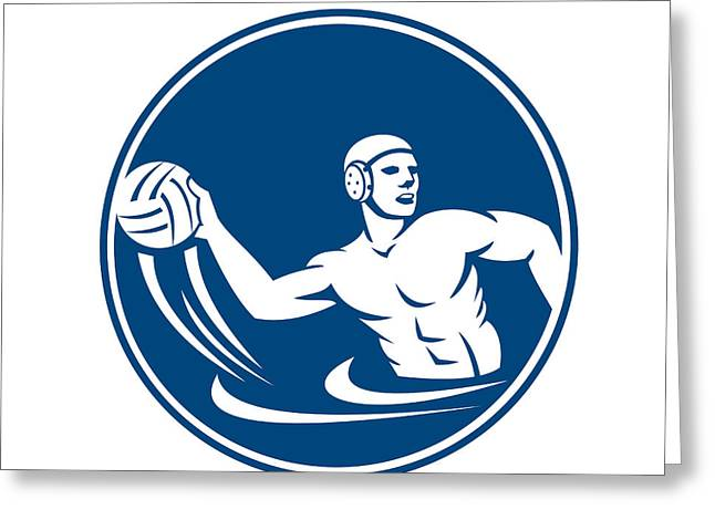 Water Polo Player Throw Ball Circle Icon Greeting Card