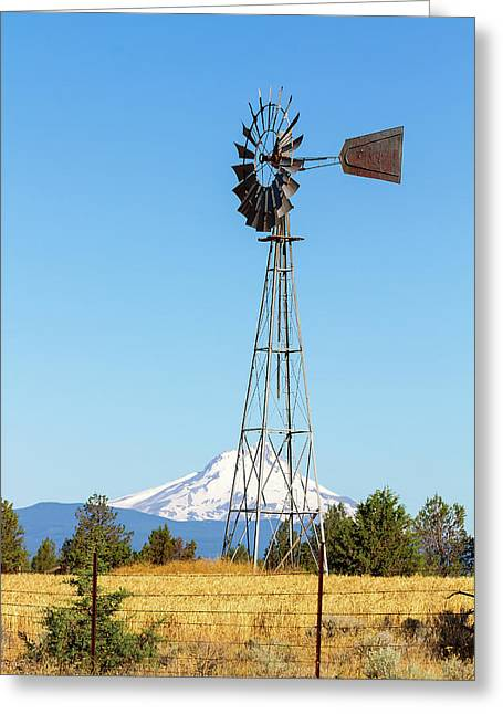 Water Pump Windmill In Central Oregon Farm Greeting Card by David Gn