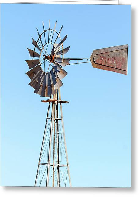 Water Pump Windmill On Blue Sky Background Greeting Card by David Gn