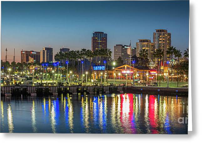 Water Reflecting Lights Sunset Long Beach Ca Greeting Card