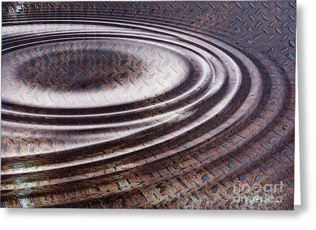Greeting Card featuring the digital art Water Ripple On Rusty Steel Plate  by Michal Boubin