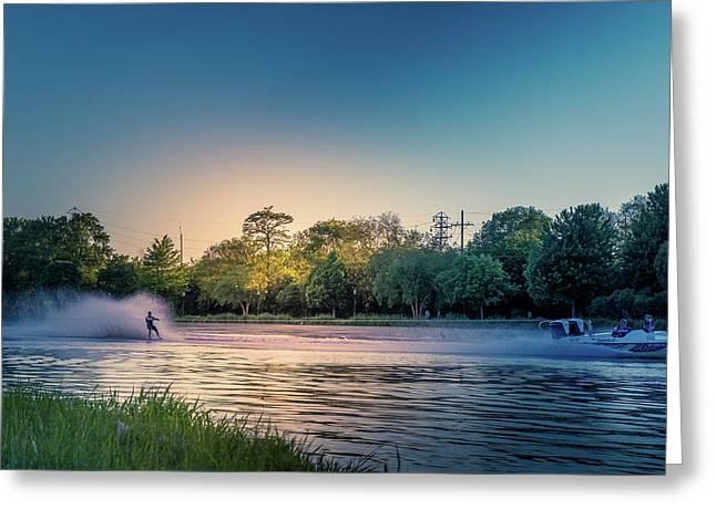 Water Ski  Greeting Card by Art Spectrum