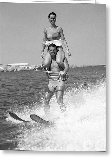 Water Skiing Tricks Greeting Card by H. Armstrong Roberts/ClassicStock
