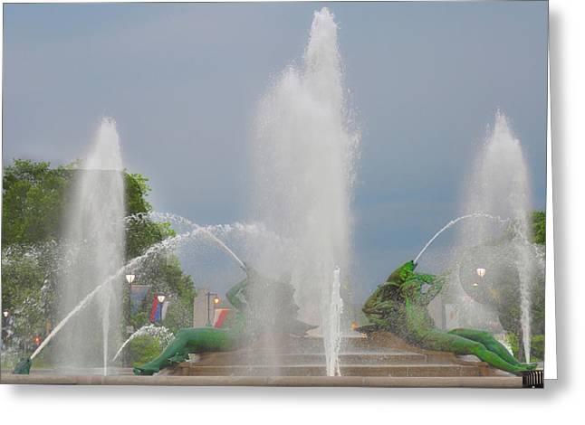 Water Spray - Swann Fountain - Philadelphia Greeting Card by Bill Cannon
