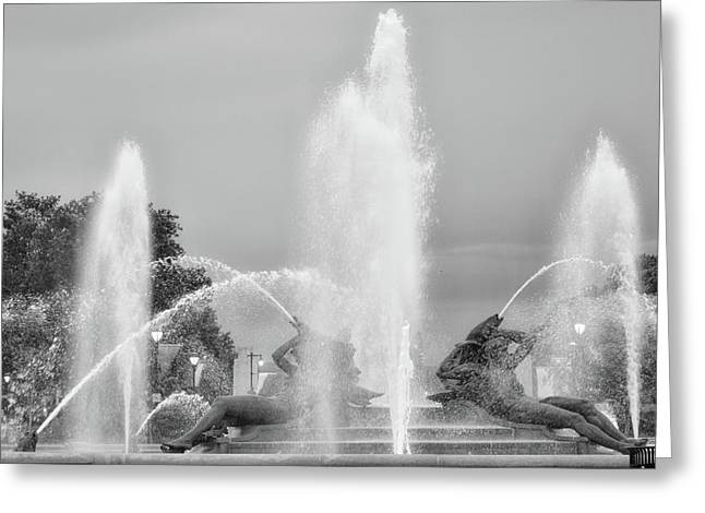 Water Spray - Swann Fountain - Philadelphia In Black And White Greeting Card by Bill Cannon