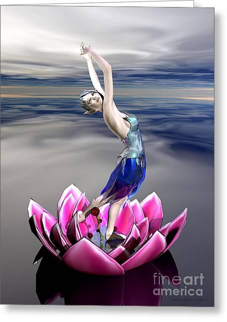 Greeting Card featuring the digital art Water Sprite by Sandra Bauser Digital Art