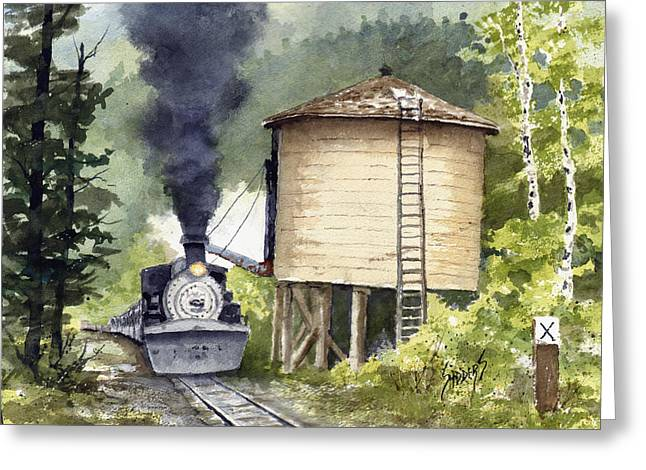Greeting Card featuring the painting Water Stop by Sam Sidders