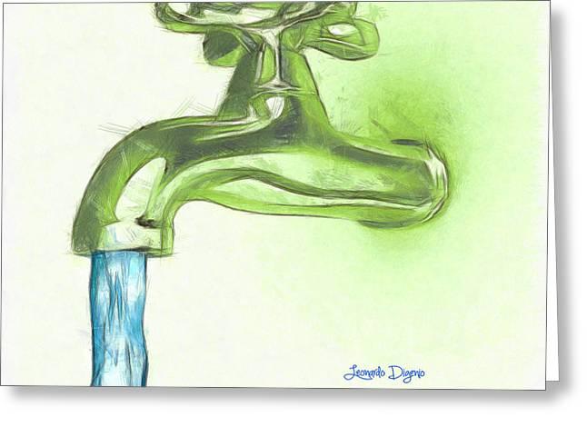 Water Tap A - Da Greeting Card