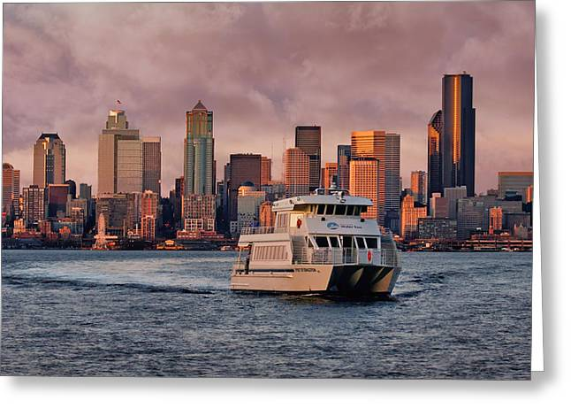 Water Taxi - Seattle - Skyline Greeting Card