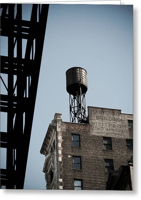 Water Tower And Fire Escape Greeting Card by Darren Martin