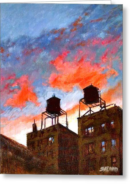 Water Towers At Sunset No. 1 Greeting Card