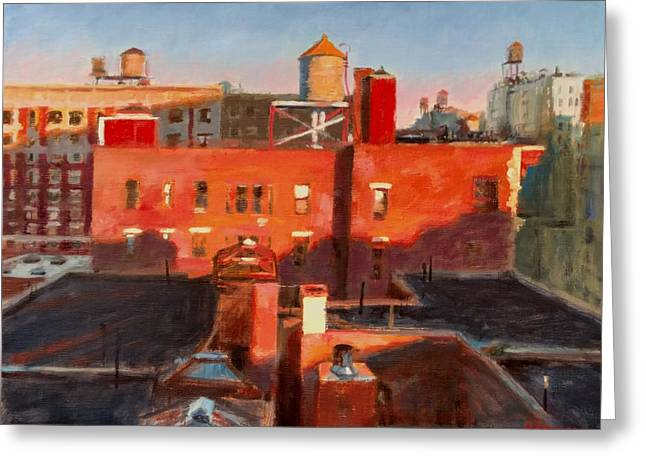 Water Towers At Sunset No. 3 Greeting Card by Peter Salwen
