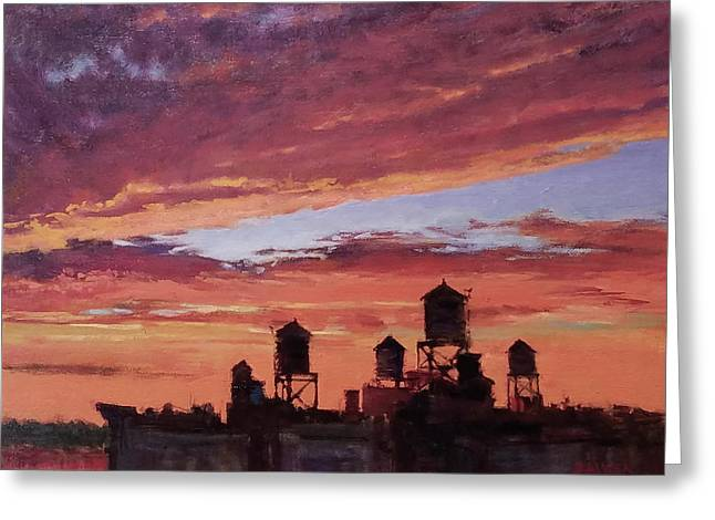 Water Towers At Sunset No. 4 Greeting Card