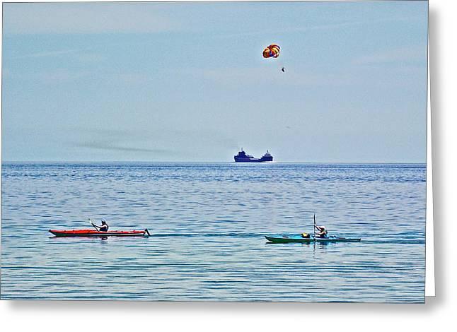 Water Transportion On Lake Huron Around Mackinac Island-michigan Greeting Card