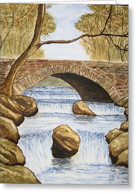 Water Under The Bridge Greeting Card by Maris Sherwood