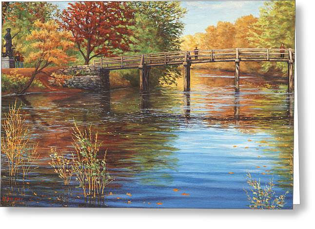 Concord Greeting Cards - Water Under the Bridge Old North Bridge MA Greeting Card by Elaine Farmer