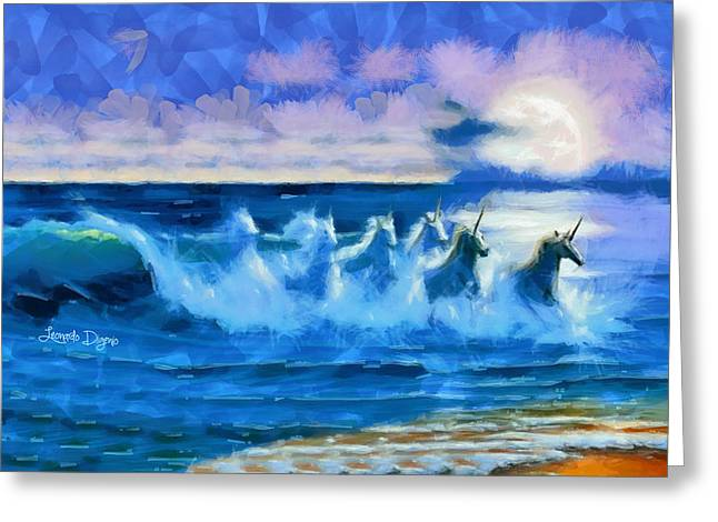 Water Unicorns - Da Greeting Card