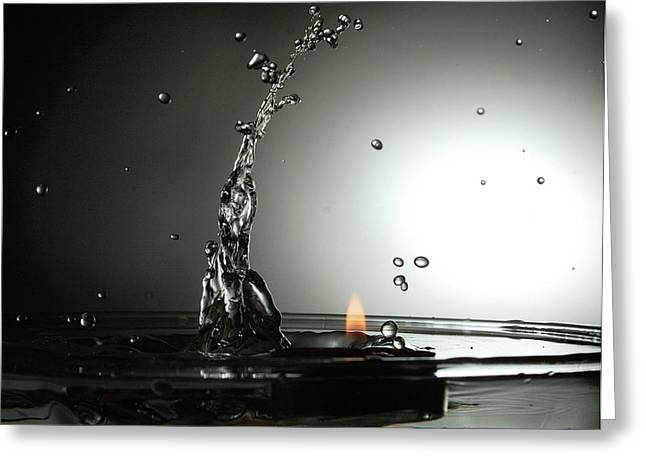 Water Splashes Greeting Cards - Water vs Fire Greeting Card by Ivan Vukelic